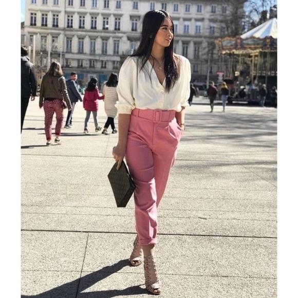 0191a6cf Zara Pants | Pink Belted Trousers | Poshmark